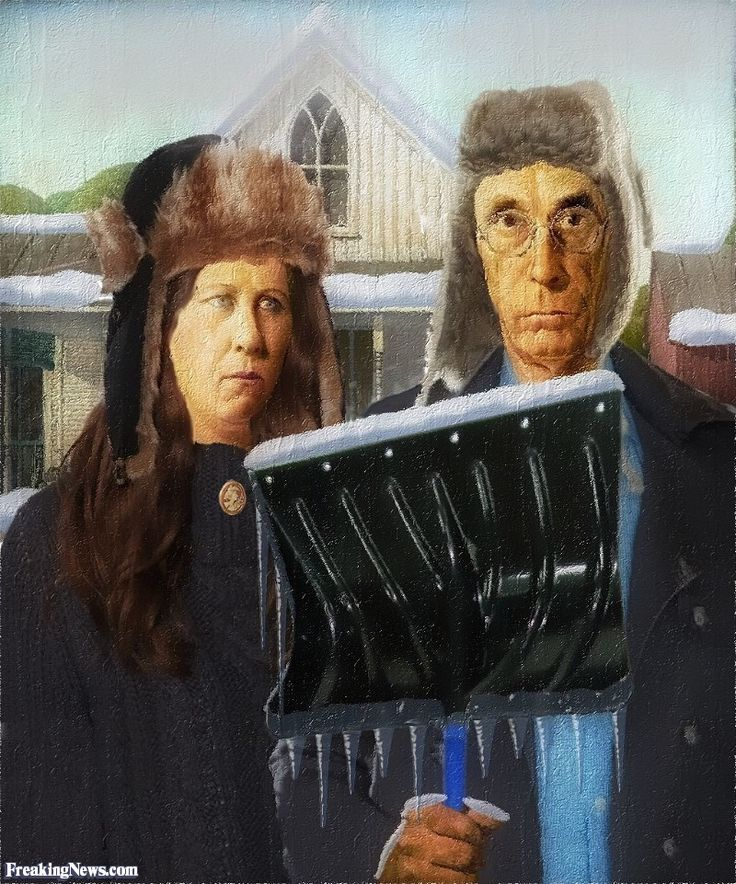 American Gothic Painting in the Snow