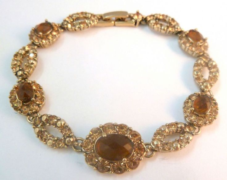 Vintage smoky topaz and citrine coloured glass design bracelet by Monet The panel bracelet is formed from smoky topaz and citrine coloured glass