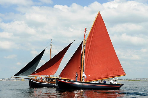 Eight Olympic medals in a Galway Hooker, Torben Grael, (5) Ian Walker (2) Fernando Echavarri (1), all sailing the Gallway Hooker 'America Mor', built 1848 and owned by Dermot Flaherty of Galway. Photo copyright Rick Tomlinson / Volvo Ocean Race.