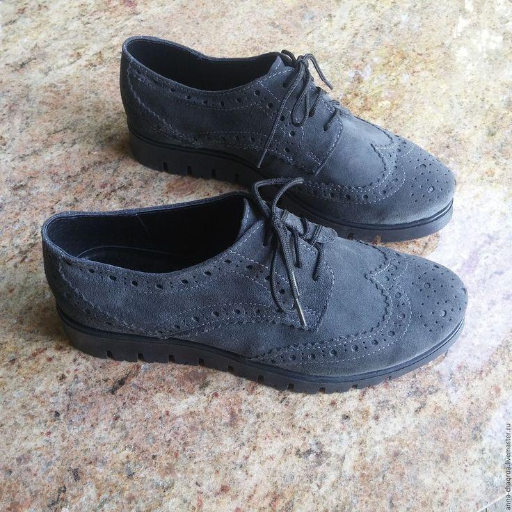 Купить Женские броги Anna Chaqrua - темно-серый, обувь, обувь ручной работы
