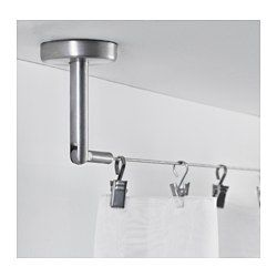 IKEA - DIGNITET, Câble d'acier, Set complet avec fixations et câble pour rideaux. Prêt à être monté au mur ou au plafond.Accessoires de fixation avec angle réglable.Peut facilement être découpé à la longueur souhaitée.