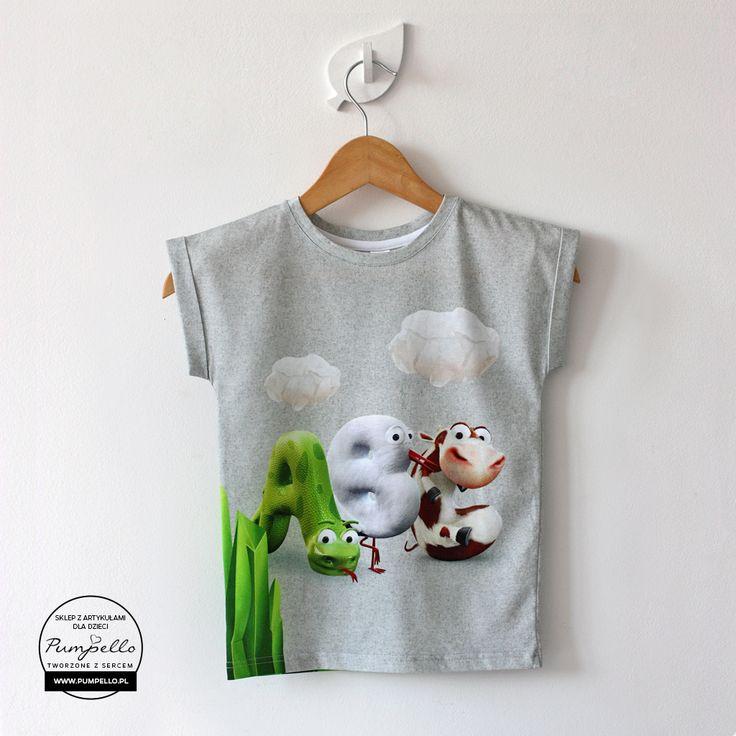 T-shirt ABC melanżowy