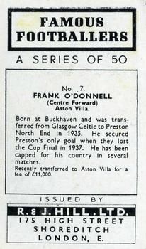 1939 R & J Hill Famous Footballers Series 1 #7 Frank O'Donnell Back