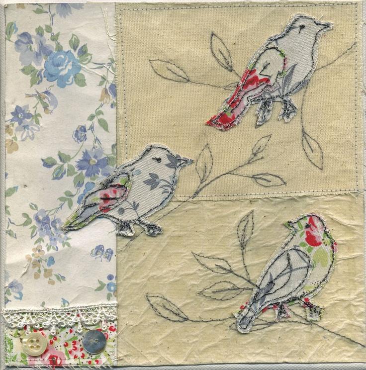 3 birds machine embroidered wall art canvas - Diane Taylor