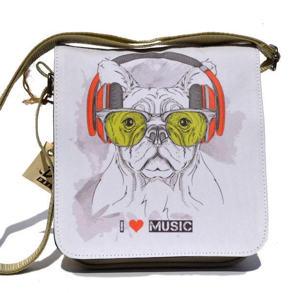 Napszemüveges francia bulldog táska