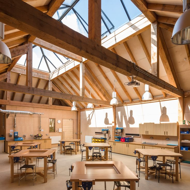 London firm Squire and Partners combined traditional building techniques with contemporary details to create a workshop for a school in south-east Eng…