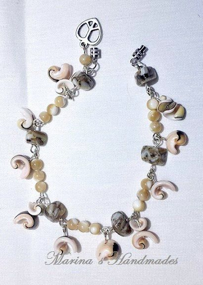 Natural color MOP and shell bracelet shell and MOP beads