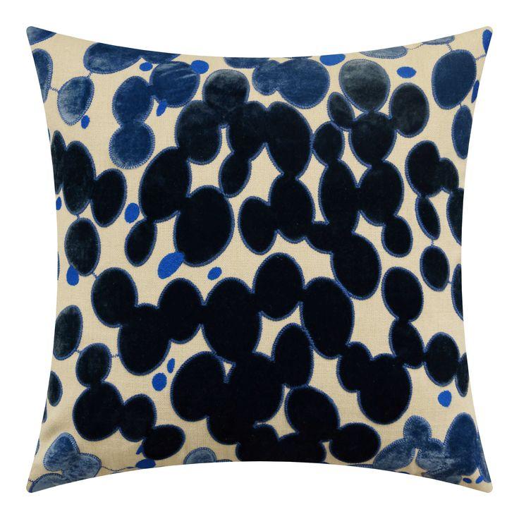 Pinto large, delft blue on natural linen, 56x56cm