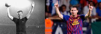 Kubala y Messi, el arte en sus pies