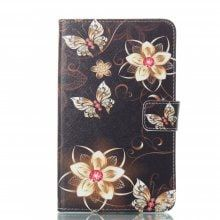 Golden Flower Butterfly Ultrathin Luxury Genuine Leather Case for Samsung Galaxy Tab A A6 7.0 Inch T280 T285 Cover Case