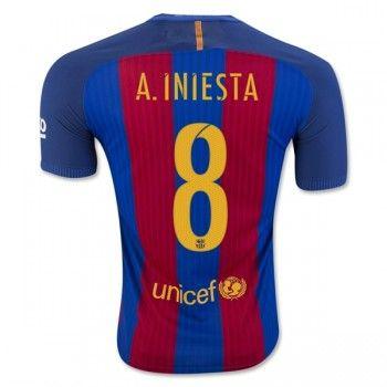 Barcelona 16-17 Andres Iniesta 8 Hemmatröja Kortärmad   #Billiga  #fotbollströjor