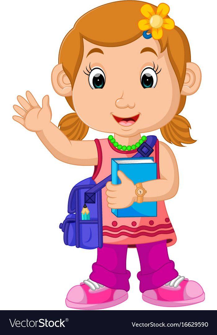School Girl Cartoon Walking Royalty Free Vector Image Girl Cartoon Boy And Girl Cartoon Cartoon