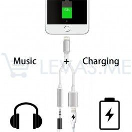 Cabo Apple iPhone 2 em 1 - Carregador + Jack audio compatível com iPhone 6 e 6 Plus e iPhone 7 e 7 Plus