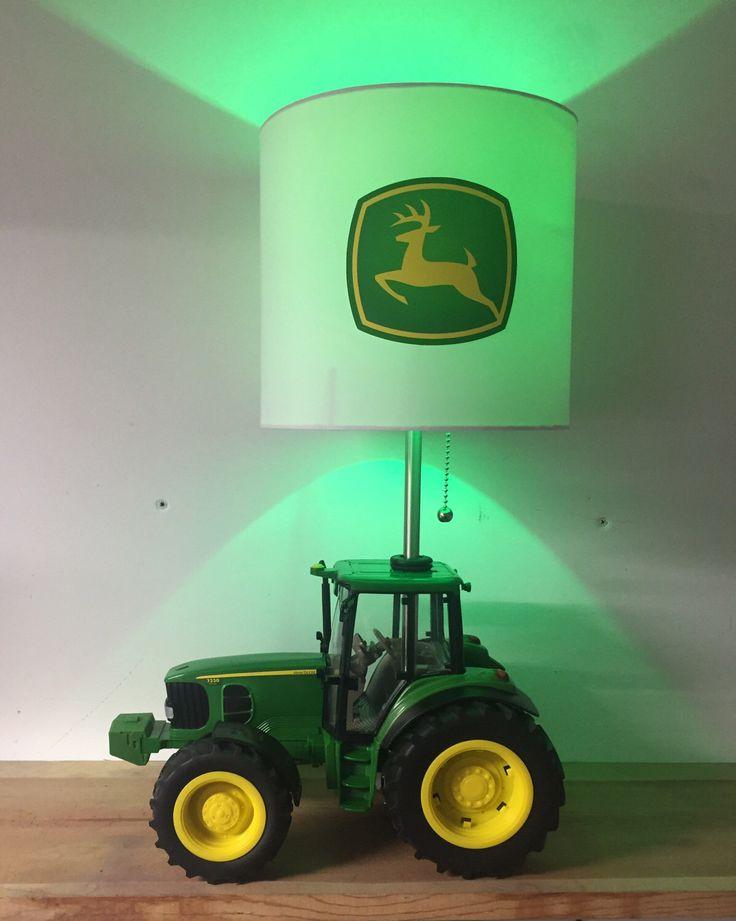 John Deere Tractor Lamp, Farm Lamp, Green Yellow Tractor Light, Table Lamp, man cave lighting, boys night light by CaliradoArt on Etsy https://www.etsy.com/listing/511086209/john-deere-tractor-lamp-farm-lamp-green
