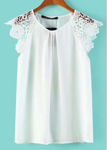Chic Short Sleeve Round Neck White T Shirt with Lace