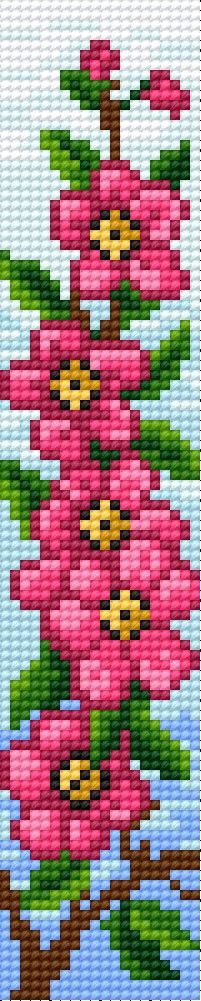 Cross-stitch Bookmark in pink flower pattern... no color chart available, just use pattern chart as your color guide.. or choose your own colors...
