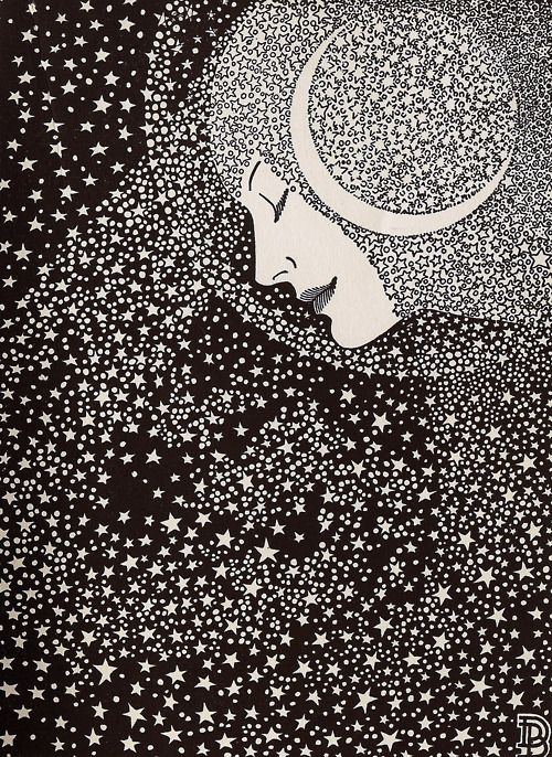 """Lady of the Night"" - Illustration by Don Blanding for his book of poetry, ""Memory Room"", published in 1935"