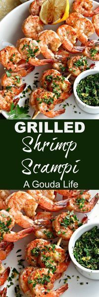 Grilled Shrimp Scampi: a twist on the classic - tender shrimp basted in buttery-garlic wine sauce topped with easy, homemade gremolata. Quick enough for weeknight, elegant enough to entertain with.