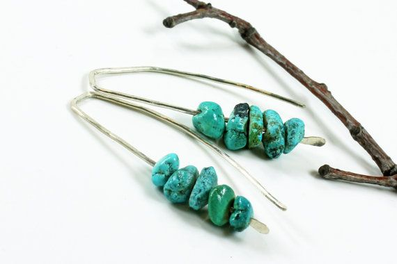 Chinese Turquoise Earrings Sterling Silver blue by AliraTreasures