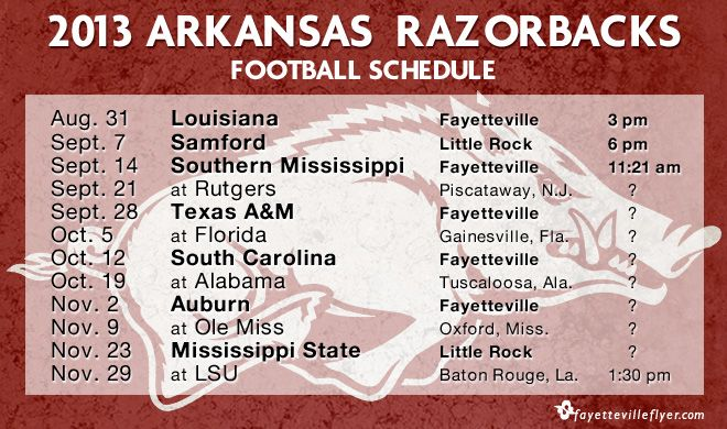 Razorback Football Roster 2013 | The 2013 Arkansas Razorbacks football schedule was announced Thursday ...