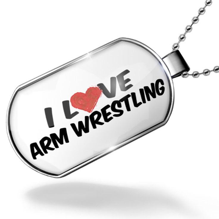 Dogtag I Love Arm Wrestling Dog tags necklace - Neonblond. Unisex gift for Men & Woman. We have more then 30,000 different Dog tags in stock. Made in Atlanta ,GA. Money-back Satisfaction Guarantee. I Love Arm Wrestling.