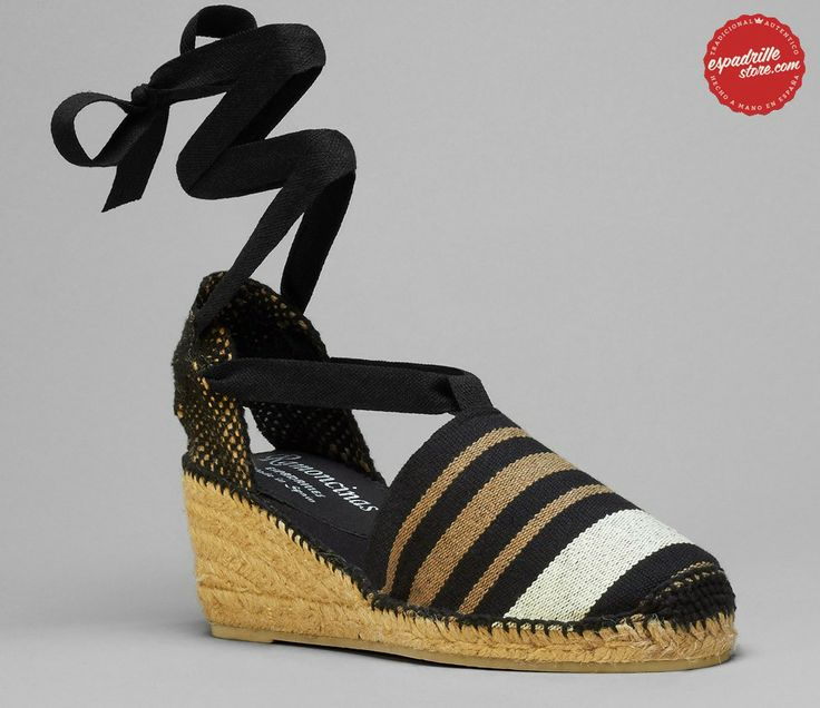 Classic black striped canvas espadrilles from Spain