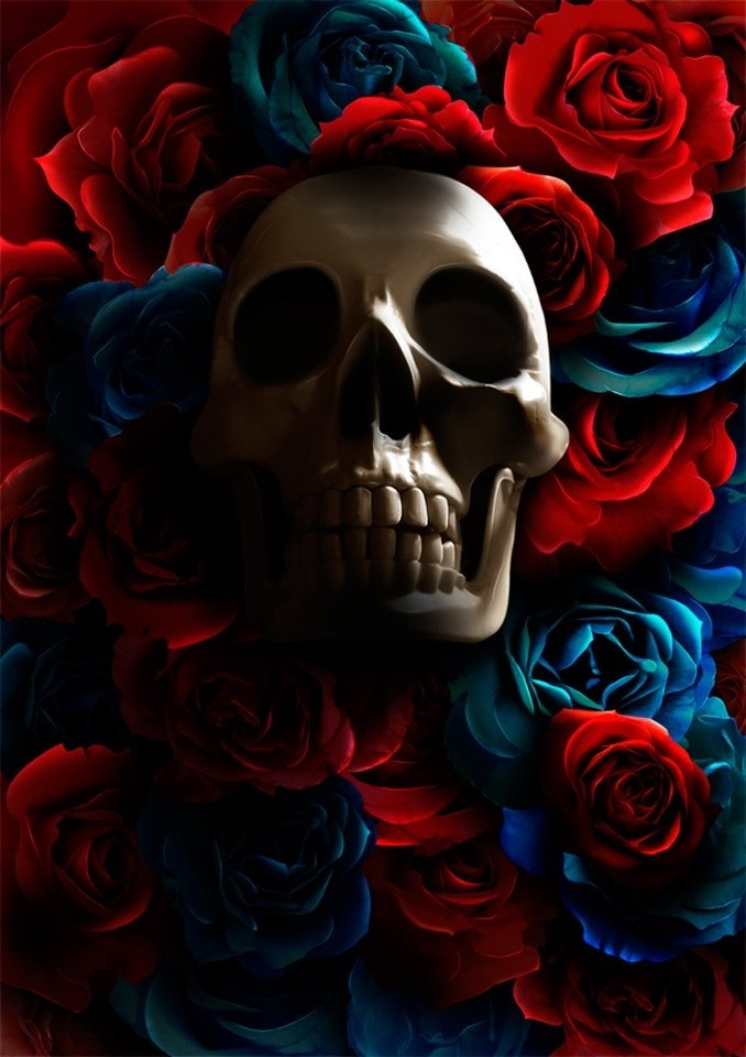 Открытки марта, картинки скелеты красивые с розой