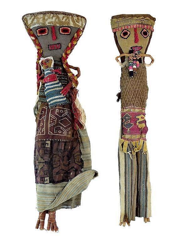 Vtg ANTIQUE PERUVIAN Chancay Burial DOLL Peru 13 Tall Folk Art Textiles