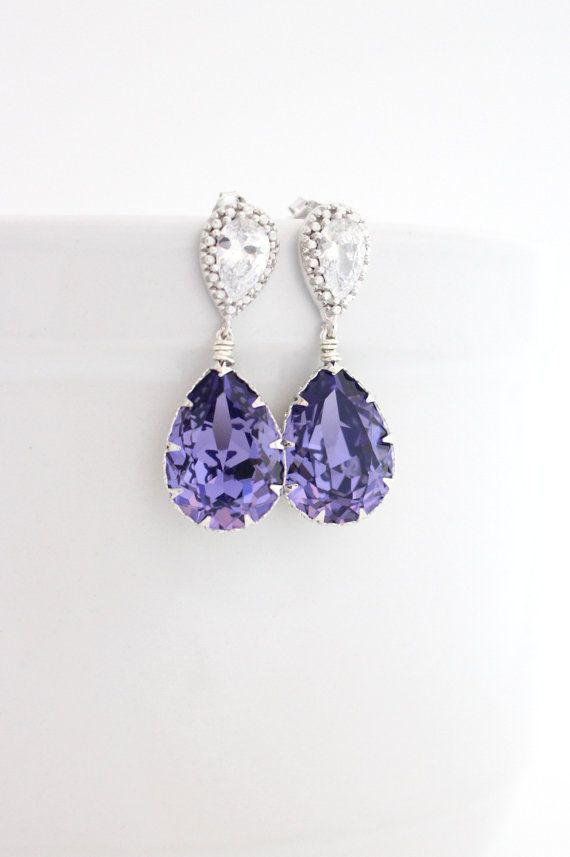 Purple Swarovski Earrings By Estylo Jewelry on Etsy