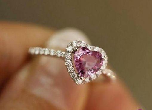 1.5 Carat Pink Tourmaline Engagement Ring, Diamonds, 14K White Gold. $850.00, via Etsy.