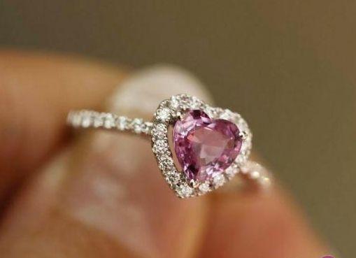 1.5 Carat Pink Tourmaline Engagement Ring, Diamonds, 14K White Gold. $850.00, via Etsy.