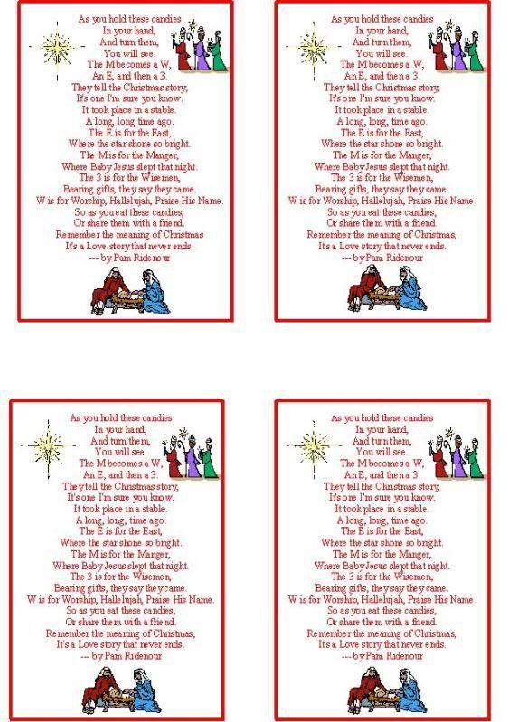 M And M Christmas Story Printable Neighbour Outreach Gift