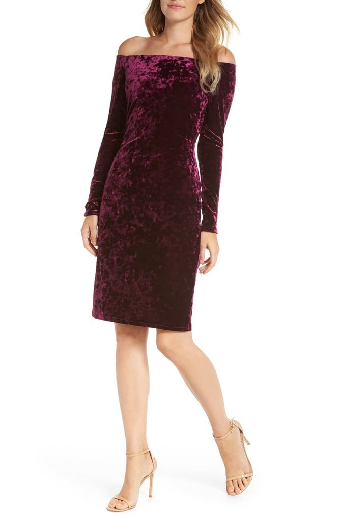36dae409 Eliza J Off-the-Shoulder Velvet Sheath Dress | Meghan Dutchess of ...