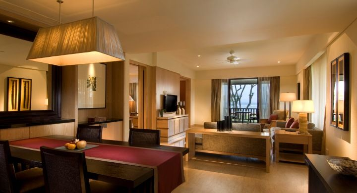 Spacious 110 square meters Conrad Ocean Suite with separate living and dining area