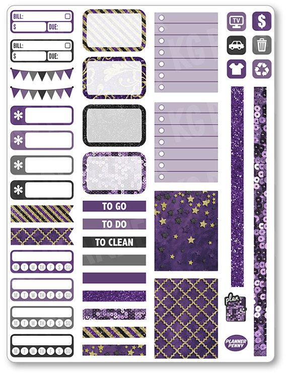 Purple/Gold Functional Kit Planner Stickers for Erin Condren Planner, Filofax, Plum Paper