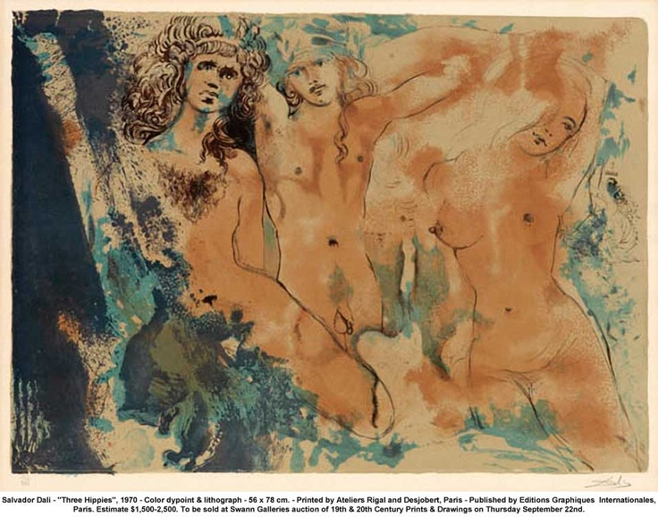 """three Hippies"" -salvador Dali, 1970"
