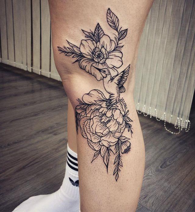 Kolibri peony flower linework tattoo knee leg