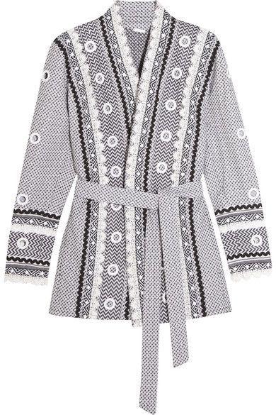Dodo Bar Or - Embellished Lace-trimmed Cotton-jacquard Kimono - Charcoal -