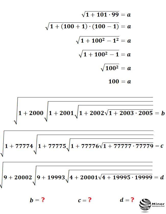 Wartość wyrażenia pierwiastkowego a możemy obliczyć korzystając ze wzoru na różnicę kwadratów dwóch wyrażeń (x-y)(x+y)=x²-y² . Postępując analogicznie, oblicz wartość wyrażenia b, c, d.