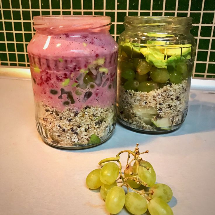 breakfast jar to go - crushed nuts and seeds, fresh pear, grapes, avocado and sauce made from raspberries and steamed eggs #breakfastjar #whole30