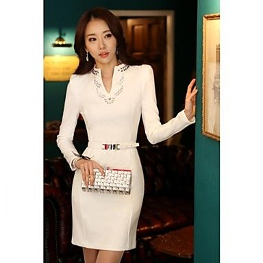 Chaoliu New Autumn Korean Style Womens Slim Fit Over Hip Long Sleeves Dress In Large Size With Belt - USD $ 22.99
