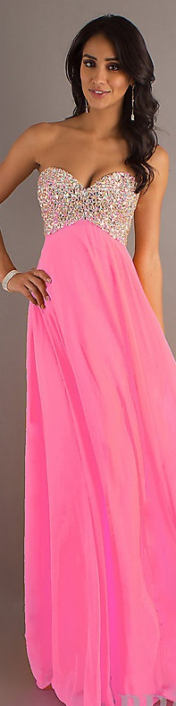 Fashion long dress #strapless #neon #pink