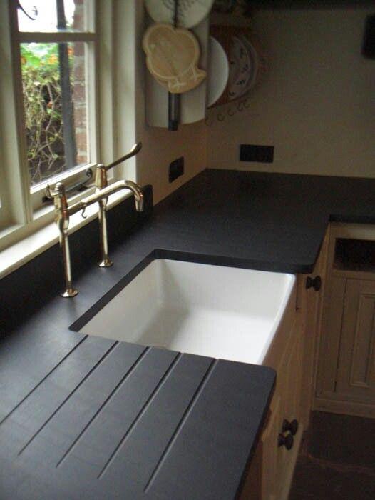 25 Best Ideas About Slate Countertop On Pinterest Dark Countertops White Kitchen Cabinets