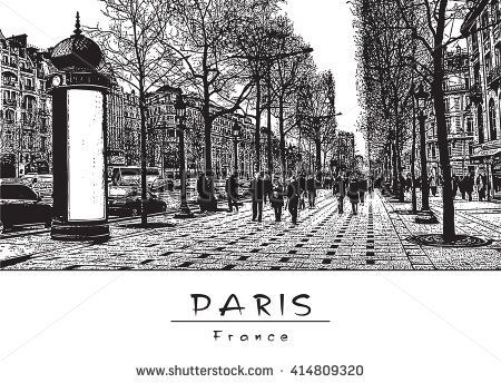 Panoramic View of the Street. Paris, France. Black and white vector engraved Image.  EPS 10. Easy editable image. Result of Auto-Trace.