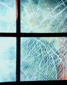 Hatteras Window Shattered By Hurricane Dennis  photo by Bruce Roberts
