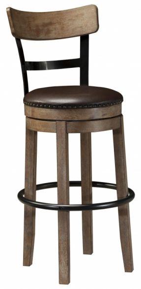Signature Design by Ashley Pinnadel Tall Upholstered Swivel Barstool with Wood & Metal Backrest - Conlin's Furniture - Bar Stool Montana, North Dakota, South Dakota, Minnesota, and Wyoming