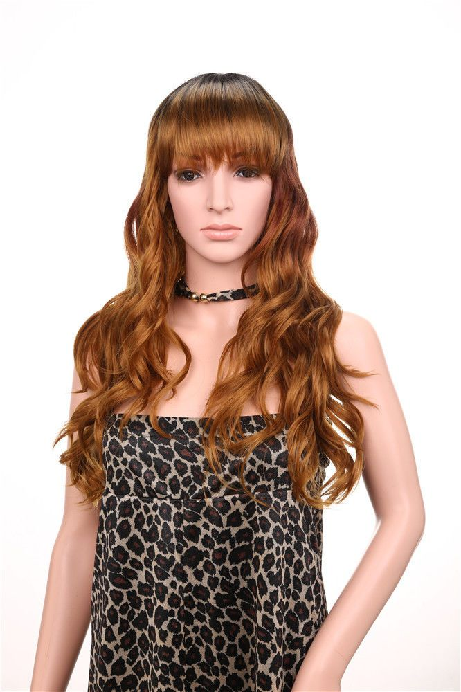 Long Wavy Brown Synthetic Hair Wig Heat Resistant with Bang Fringe Hair Full Wig #Unbranded