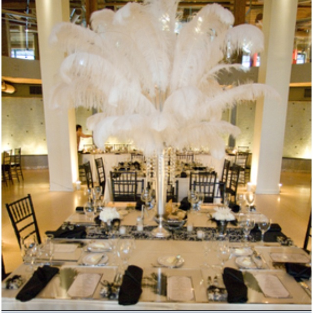 Feather Centerpieces For An Old Hollywood Theme Wedding