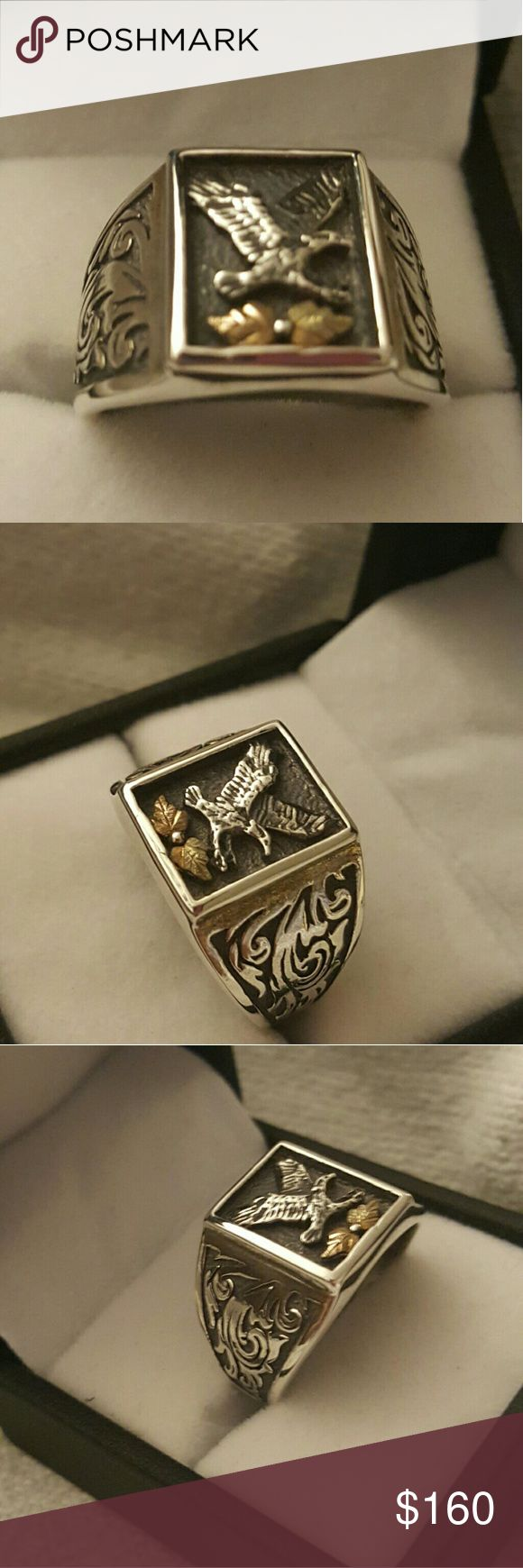 BLACK HILLS GOLD MENS RING BLACK HILLS GOLD / ONIX  12K STERLING SILVER  MENS RING SZ 11 IN GOOD CONDITION BOUGHT AT KAY JEWELRY  COMES IN A GIFT BOX Black hills gold kay jewelry Accessories Jewelry