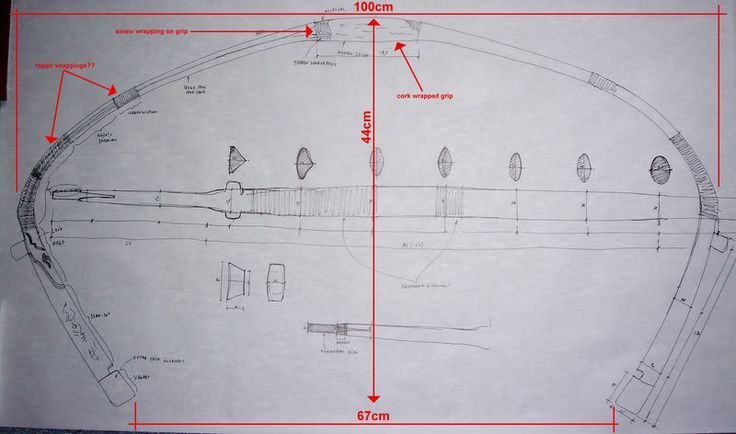 Sketch of the Chinese composite bow, shown in the xrays, by Stefan Demeter